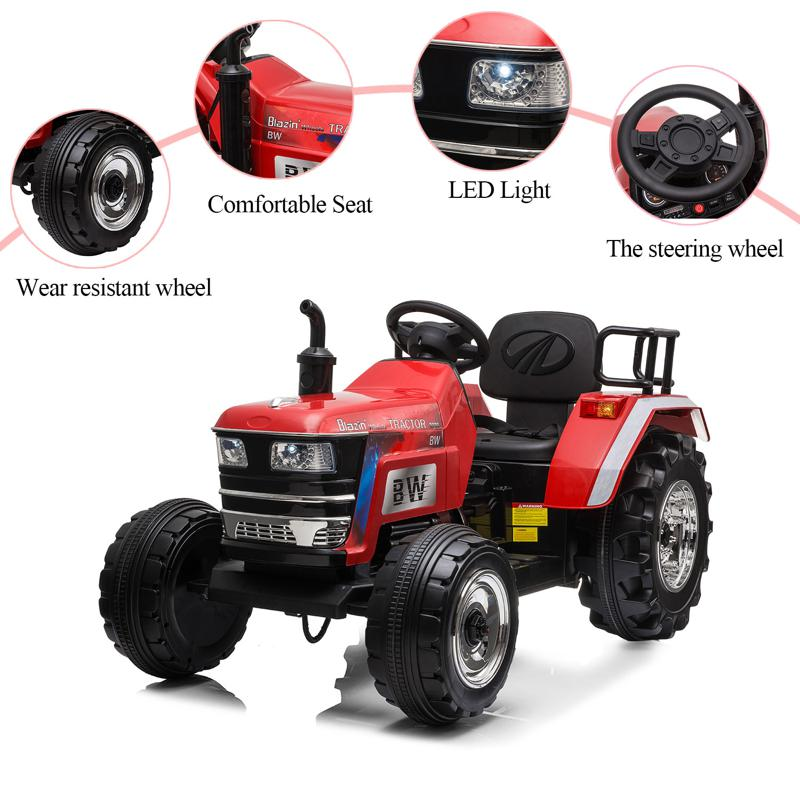 12V Kids Ride On Tractor with Remote Control for 3-6 Years, Red kids ride on tractor with remote control red 22 2