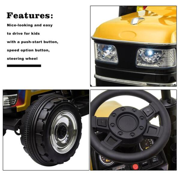 12V Kids Ride On Tractor with Remote Control for 3-6 Years, Yellow kids ride on tractor with remote control yellow 17