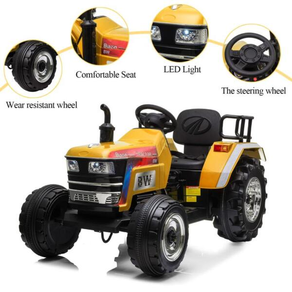 12V Kids Ride On Tractor with Remote Control for 3-6 Years, Yellow kids ride on tractor with remote control yellow 23 1