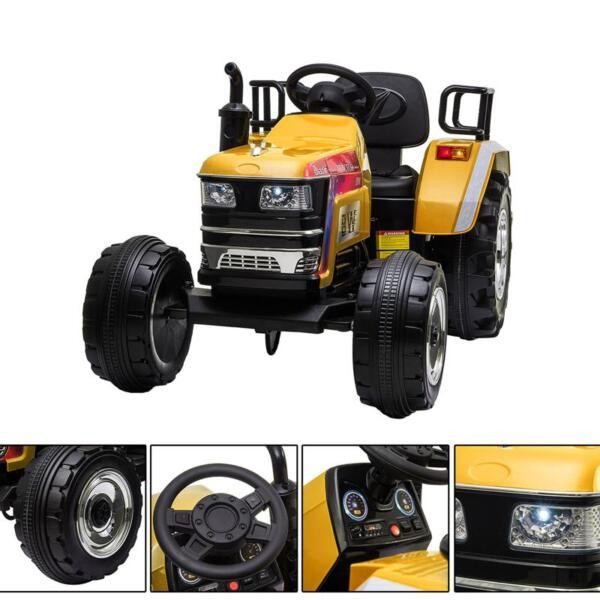 12V Kids Ride On Tractor with Remote Control for 3-6 Years, Yellow kids ride on tractor with remote control yellow 27