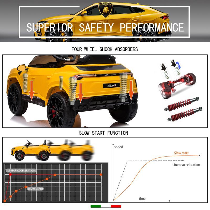 12V Lamborghini Ride On Car With Remote Control, Yellow lamborghini 12v urus kids ride on car yellow 1 1