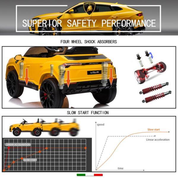 12V Lamborghini Ride On Car With Remote Control, Yellow lamborghini 12v urus kids ride on car yellow 1