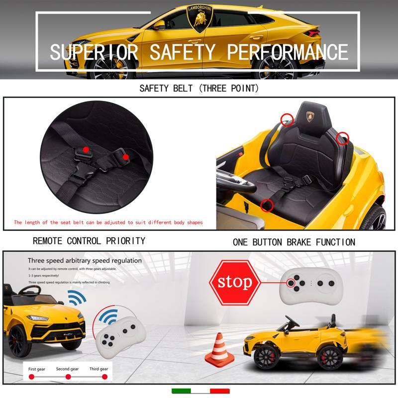 12V Lamborghini Ride On Car With Remote Control, Yellow lamborghini 12v urus kids ride on car yellow 2 1