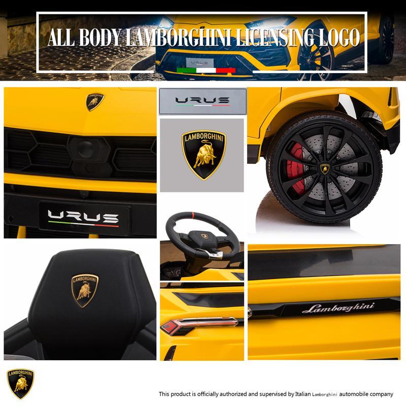 12V Lamborghini Ride On Car With Remote Control, Yellow lamborghini 12v urus kids ride on car yellow 5 1