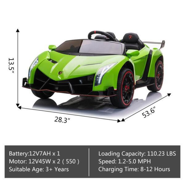 12V Lamborghini Ride On Car With Remote Control 2 Seater, Green lamborghini veneno 12v kids ride on car green 16 1