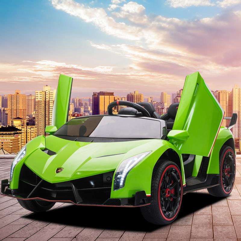 12V Lamborghini Ride On Car With Remote Control 2 Seater, Green lamborghini veneno 12v kids ride on car green 18 1