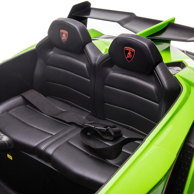 12V Lamborghini Ride On Car With Remote Control 2 Seater, Green lamborghini veneno 12v kids ride on car green 26 1
