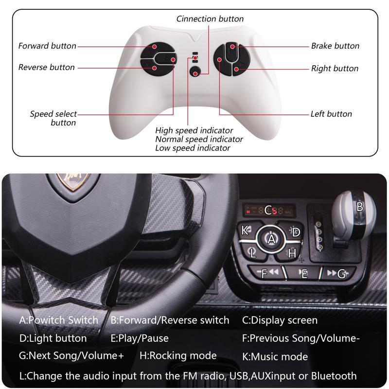 12V Lamborghini Ride On Car With Remote Control 2 Seater, Green lamborghini veneno 12v kids ride on car green 33 1 1