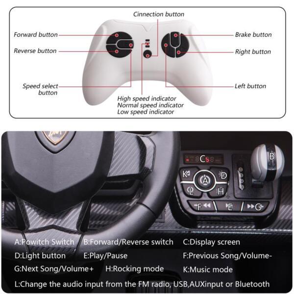12V Lamborghini Ride On Car With Remote Control 2 Seater, Green lamborghini veneno 12v kids ride on car green 33 1