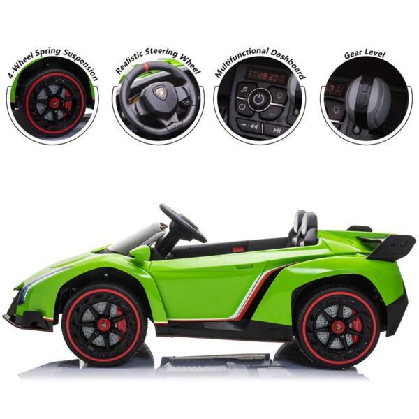 12V Lamborghini Ride On Car With Remote Control 2 Seater, Green lamborghini veneno 12v kids ride on car green 34