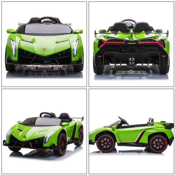 12V Lamborghini Ride On Car With Remote Control 2 Seater, Green lamborghini veneno 12v kids ride on car green 36