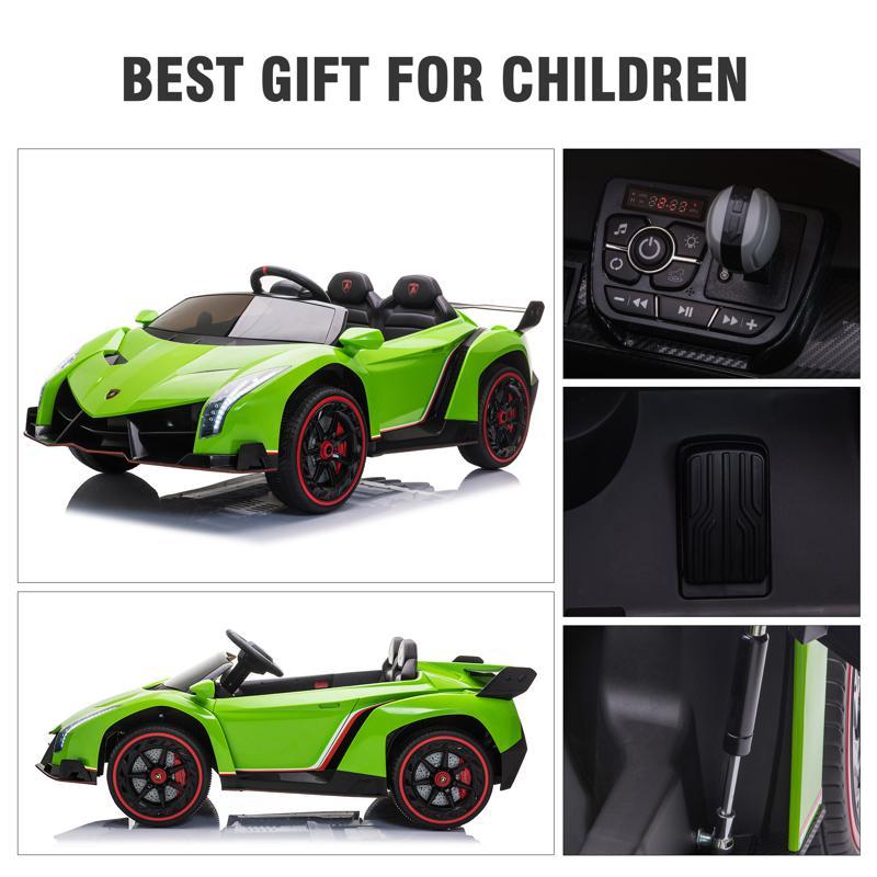 12V Lamborghini Ride On Car With Remote Control 2 Seater, Green lamborghini veneno 12v kids ride on car green 37 1