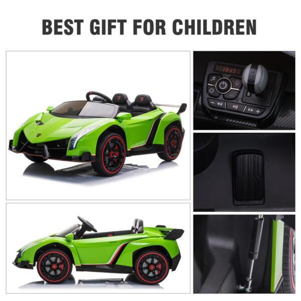 12V Lamborghini Ride On Car With Remote Control 2 Seater, Green lamborghini veneno 12v kids ride on car green 37