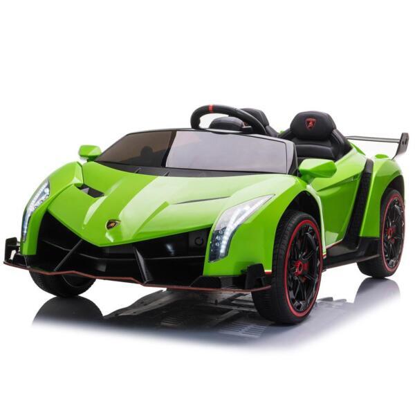 12V Lamborghini Ride On Car With Remote Control 2 Seater, Green lamborghini veneno 12v kids ride on car green 8
