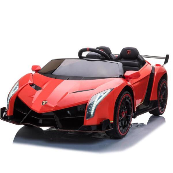 12V Lamborghini Ride On Car With Remote Control 2 Seater, Red lamborghini veneno 12v kids ride on car red 0