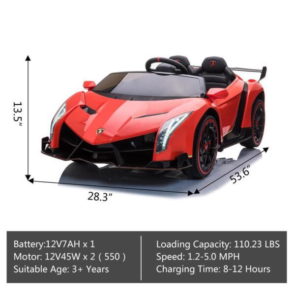 12V Lamborghini Ride On Car With Remote Control 2 Seater, Red lamborghini veneno 12v kids ride on car red 17 1