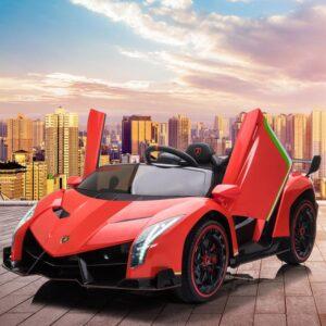 Home lamborghini veneno 12v kids ride on car red 20 kids electric cars