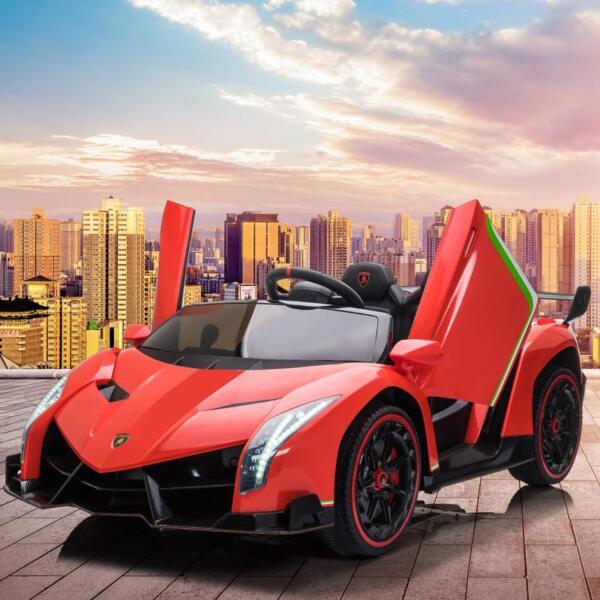 12V Lamborghini Ride On Car With Remote Control 2 Seater, Red lamborghini veneno 12v kids ride on car red 20
