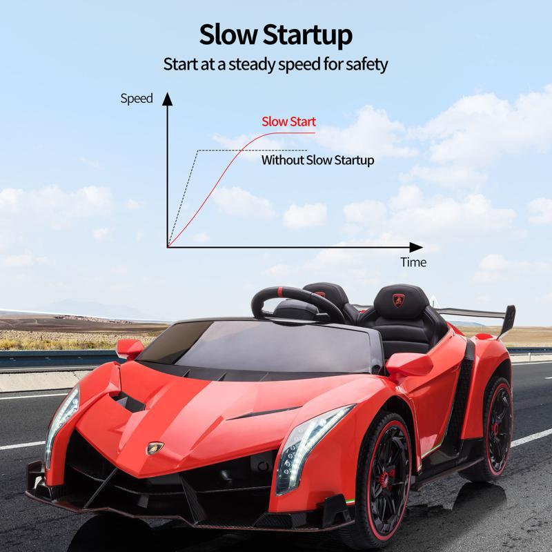 12V Lamborghini Ride On Car With Remote Control 2 Seater, Red lamborghini veneno 12v kids ride on car red 22 1