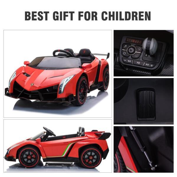 12V Lamborghini Ride On Car With Remote Control 2 Seater, Red lamborghini veneno 12v kids ride on car red 26
