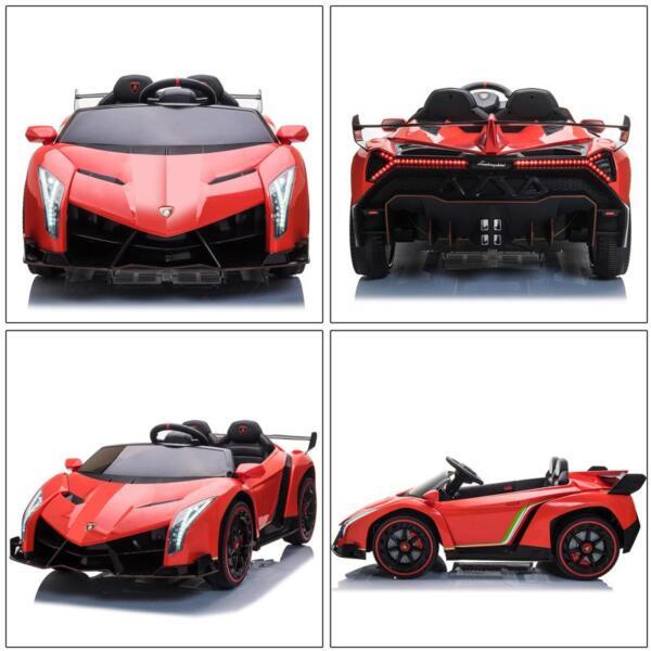 12V Lamborghini Ride On Car With Remote Control 2 Seater, Red lamborghini veneno 12v kids ride on car red 27