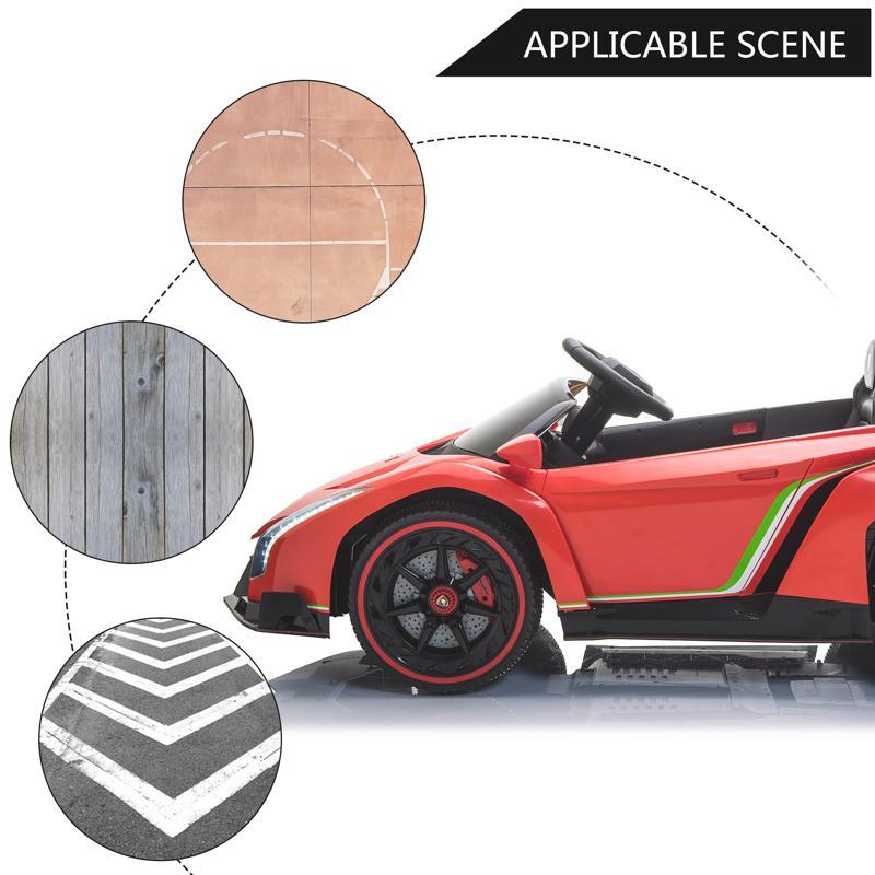 12V Lamborghini Ride On Car With Remote Control 2 Seater, Red lamborghini veneno 12v kids ride on car red 28 1