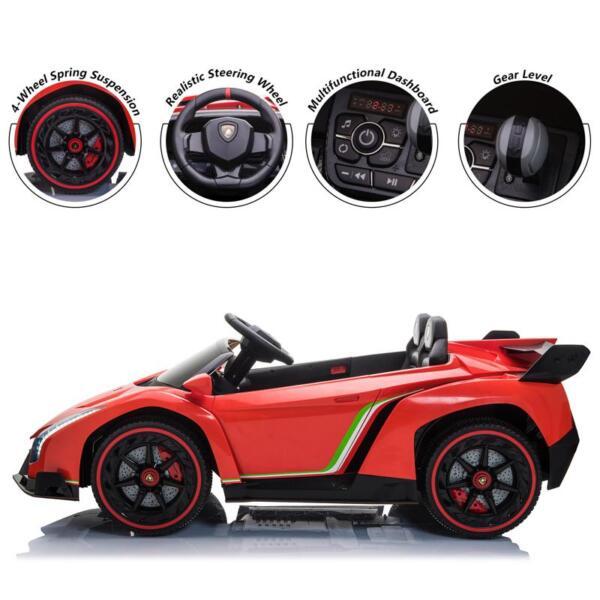 12V Lamborghini Ride On Car With Remote Control 2 Seater, Red lamborghini veneno 12v kids ride on car red 29