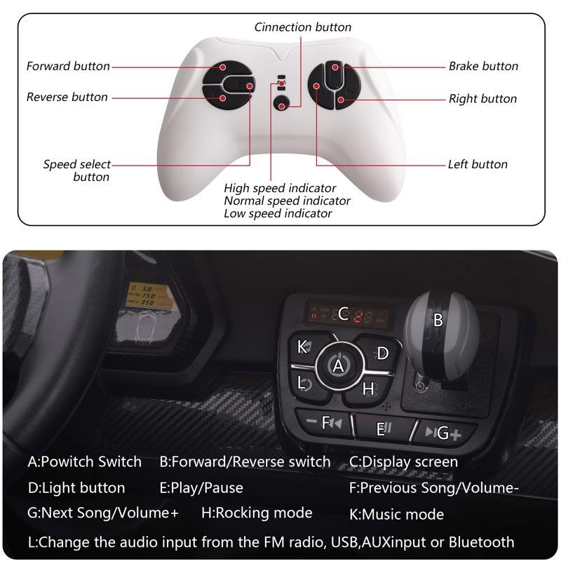12V Lamborghini Ride On Car With Remote Control 2 Seater, Red lamborghini veneno 12v kids ride on car red 30 2