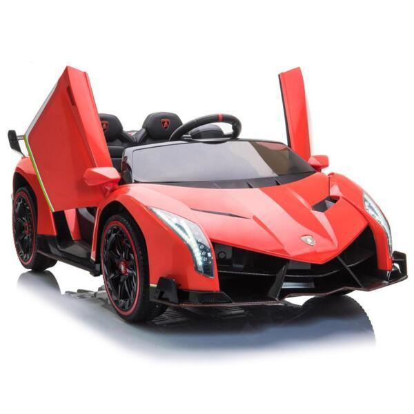 12V Lamborghini Ride On Car With Remote Control 2 Seater, Red lamborghini veneno 12v kids ride on car red 4