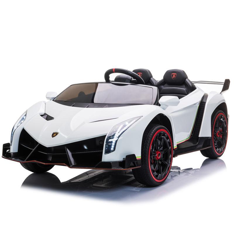 12V Lamborghini Ride On Car With Remote Control 2 Seater, White lamborghini veneno 12v kids ride on car white 0