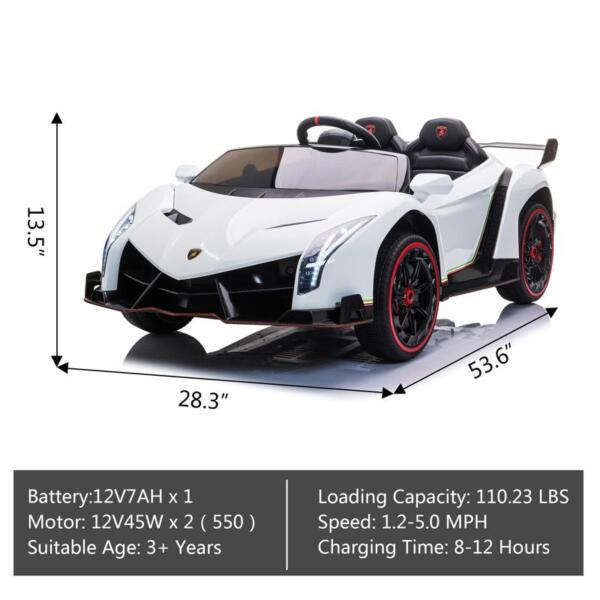 Lamborghini Veneno 12V Kids Ride On Car , White lamborghini veneno 12v kids ride on car white 18 1