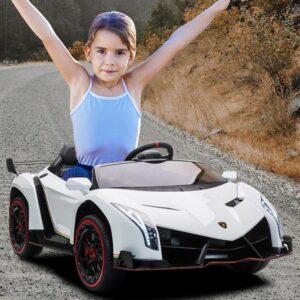 Home lamborghini veneno 12v kids ride on car white 20 kids electric cars