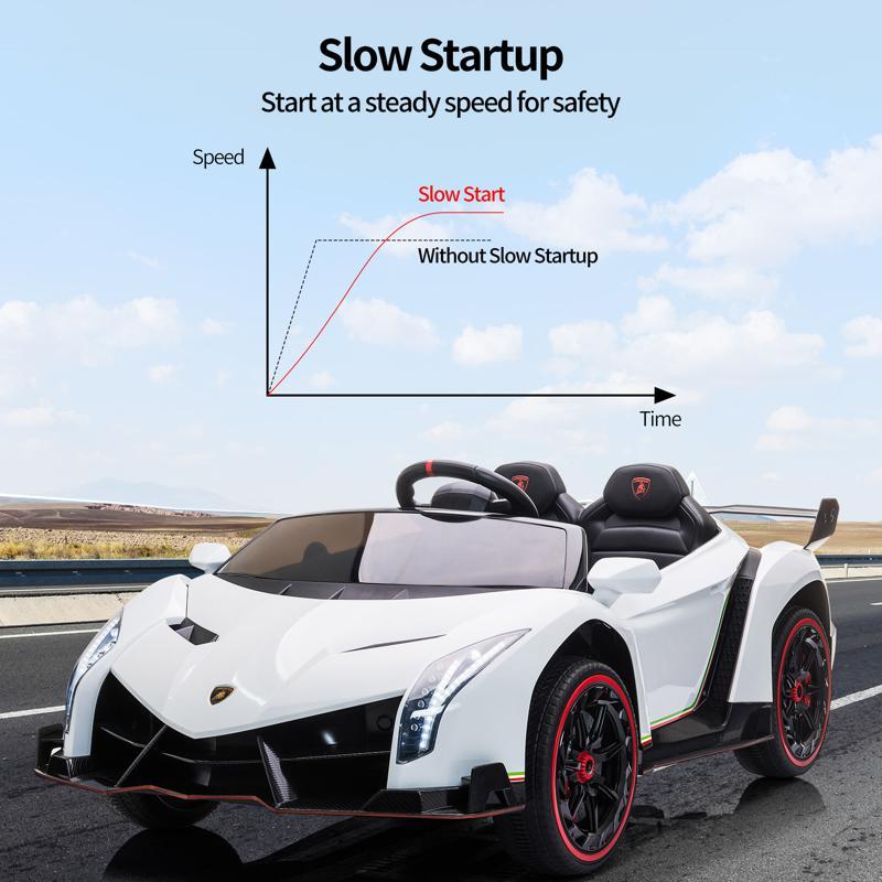 12V Lamborghini Ride On Car With Remote Control 2 Seater, White lamborghini veneno 12v kids ride on car white 23 1