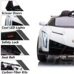 12V Lamborghini Ride On Car With Remote Control 2 Seater, White lamborghini veneno 12v kids ride on car white 27
