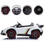 12V Lamborghini Ride On Car With Remote Control 2 Seater, White lamborghini veneno 12v kids ride on car white 29
