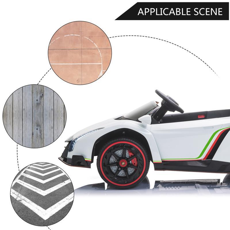 12V Lamborghini Ride On Car With Remote Control 2 Seater, White lamborghini veneno 12v kids ride on car white 30 1