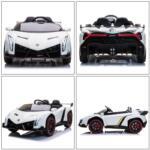 12V Lamborghini Ride On Car With Remote Control 2 Seater, White lamborghini veneno 12v kids ride on car white 31