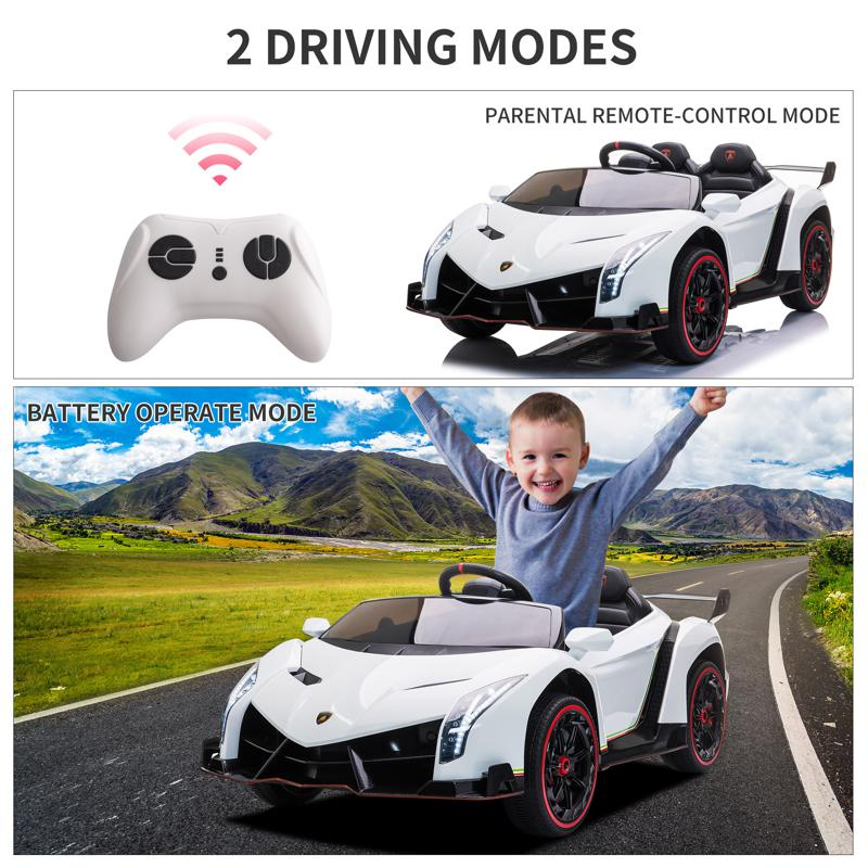 12V Lamborghini Ride On Car With Remote Control 2 Seater, White lamborghini veneno 12v kids ride on car white 41 1