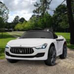 Maserati Kids Car 12V Ride On With Remote, White maserati 12v rechargeable toy vehicle white 10
