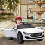 Maserati Kids Car 12V Ride On With Remote, White maserati 12v rechargeable toy vehicle white 11
