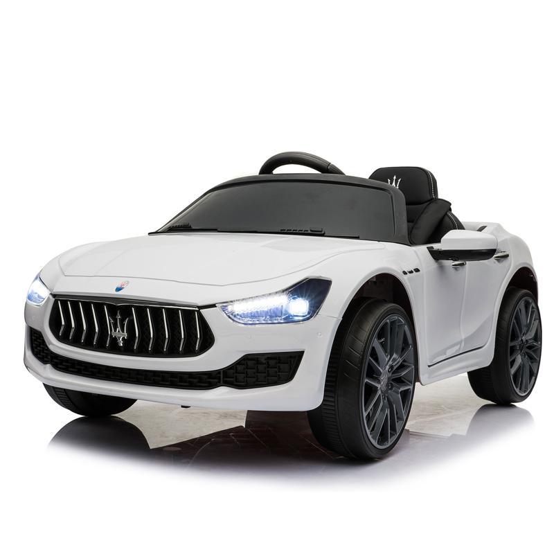 Maserati Kids Car 12V Ride On With Remote, White maserati 12v rechargeable toy vehicle white 20