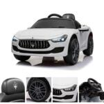 Maserati Kids Car 12V Ride On With Remote, White maserati 12v rechargeable toy vehicle white 21