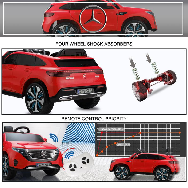 Mercedes-Benz EQC Officially Licensed Ride-On Kid's Toy Car, Red mercedes benz eqc licensed ride on kids electric car red 27 2