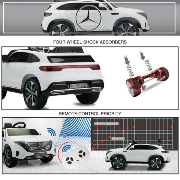 Mercedes Benz EQC Licensed Ride-On Kids Electric Car, White mercedes benz eqc licensed ride on kids electric car white 29 2
