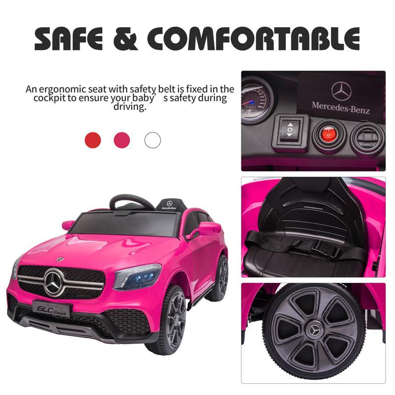 MercedesBenz GLC Licensed Kid's Electric Toy Car Vehicle, Pink mercedes benz glc licensed 12v kids eleectric car pink 44 1