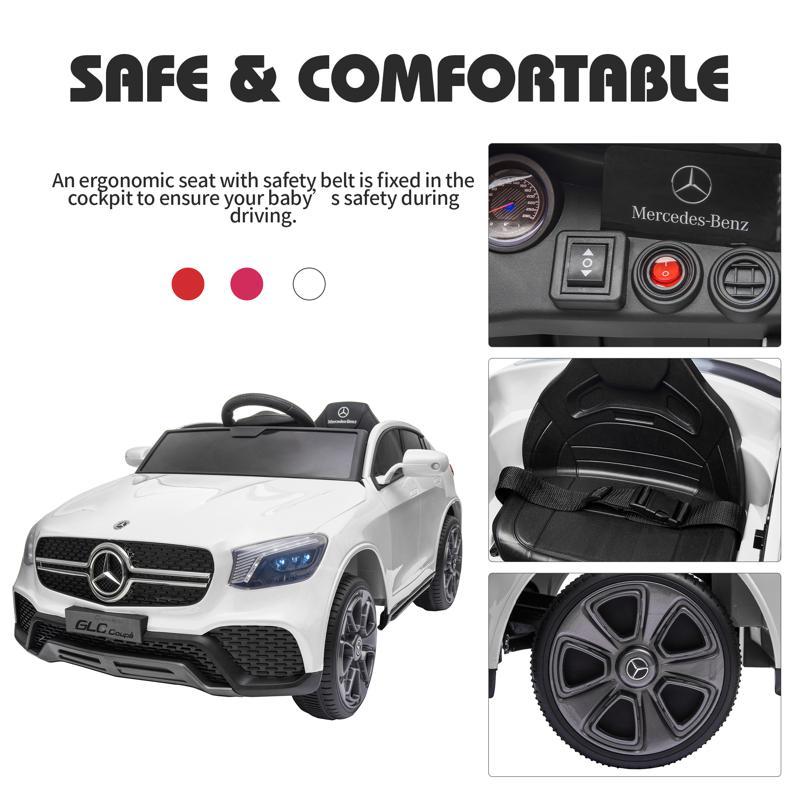 MercedesBenz GLC Licensed Kid's Electric Toy Car Vehicle, White mercedes benz glc licensed 12v kids eleectric car white 42 2