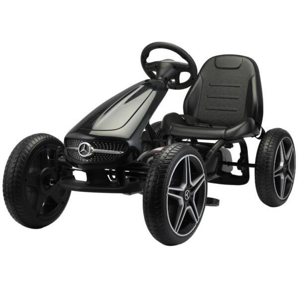Mercedes Benz Kids Go Kart Ride On Car For Children, Black mercedes benz go kart for kids 4 wheel powered black 0 1