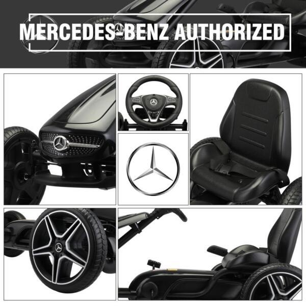 Mercedes Benz Kids Go Kart Ride On Car For Children, Black mercedes benz go kart for kids 4 wheel powered black 3