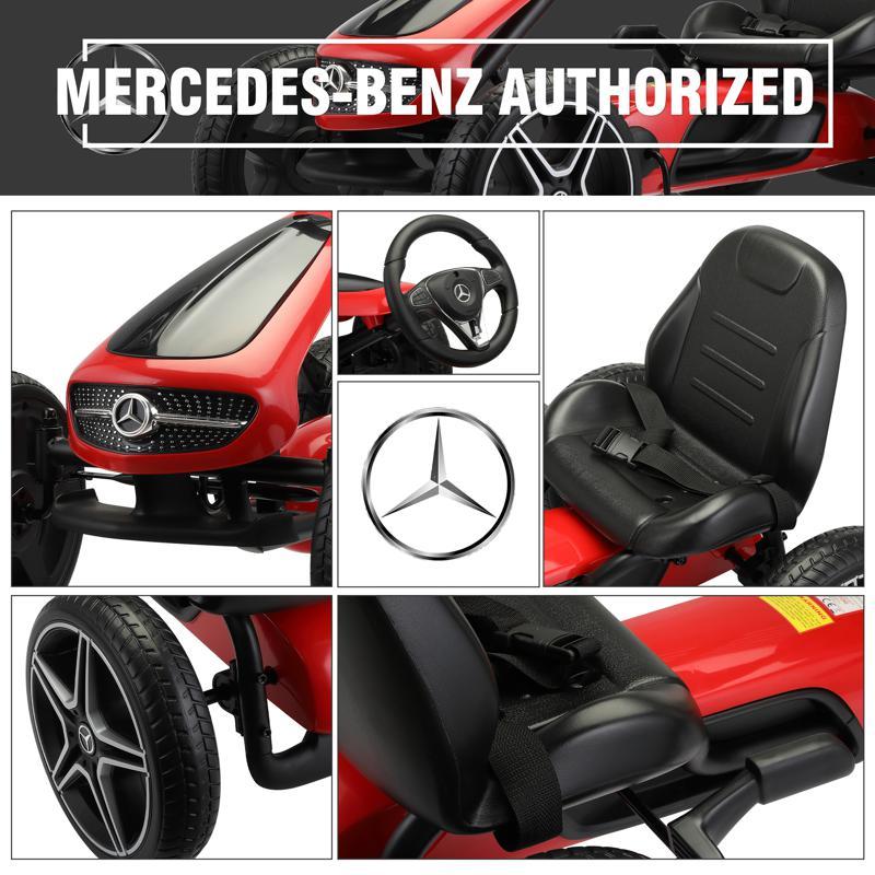 Mercedes Benz Kids Go Kart Ride On Car For Children, Red mercedes benz go kart for kids 4 wheel powered red 24 1