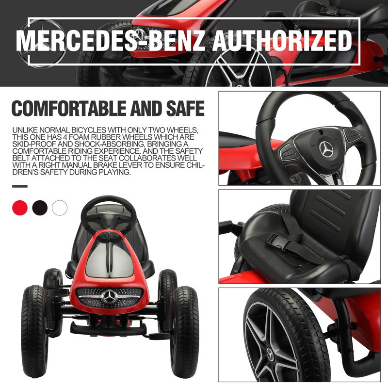 Mercedes Benz Kids Go Kart Ride On Car For Children, Red mercedes benz go kart for kids 4 wheel powered red 25 2